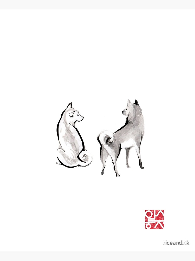 Two Shiba Inu card, Unique Sumi-e Painting, Japanese Cute dog Couple breed Ink Animal Illustration B&W Asia Zen Birthday Poster by riceandink