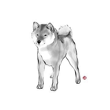 Handsome Shiba Inu card,Animal illustration Sumi-e Painting B&W Asian Japanese Zen theme Dog by riceandink