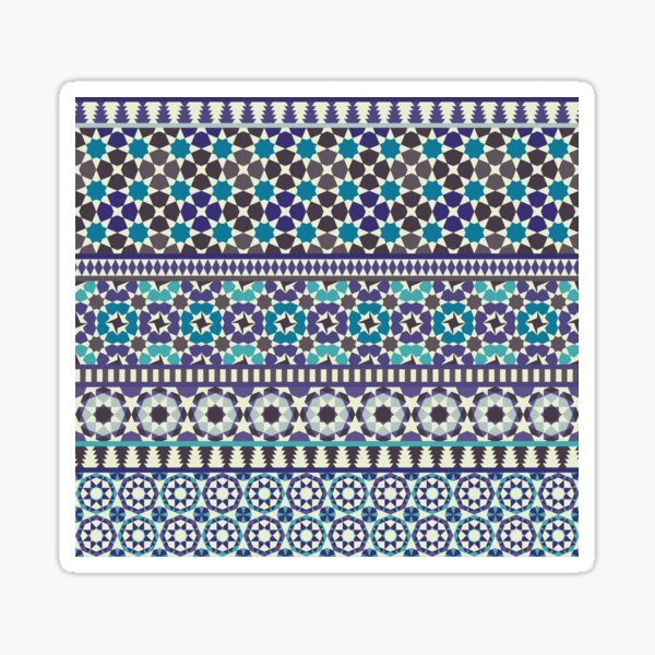 Alhambra Tessellations - Turquoise, Violet and grey on white by Cecca Designs Sticker