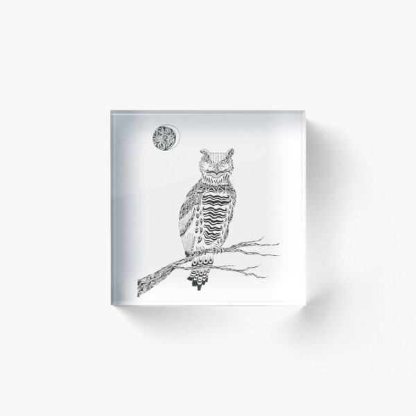 Perched Owl in Moonlight Acrylic Block