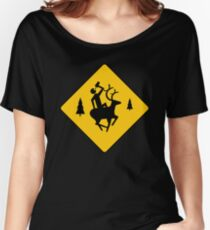 Deer and Beer Crossing Women's Relaxed Fit T-Shirt