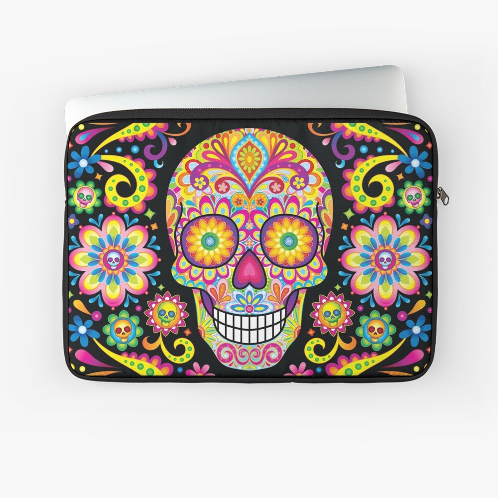 Sugar Skull Day of the Dead Art (Spark) Laptop Sleeve