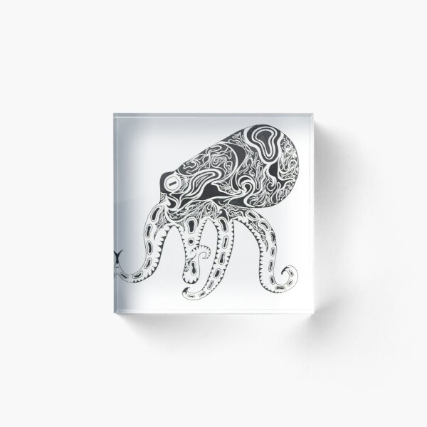 Abstract Octopus Floating in the Ether Acrylic Block