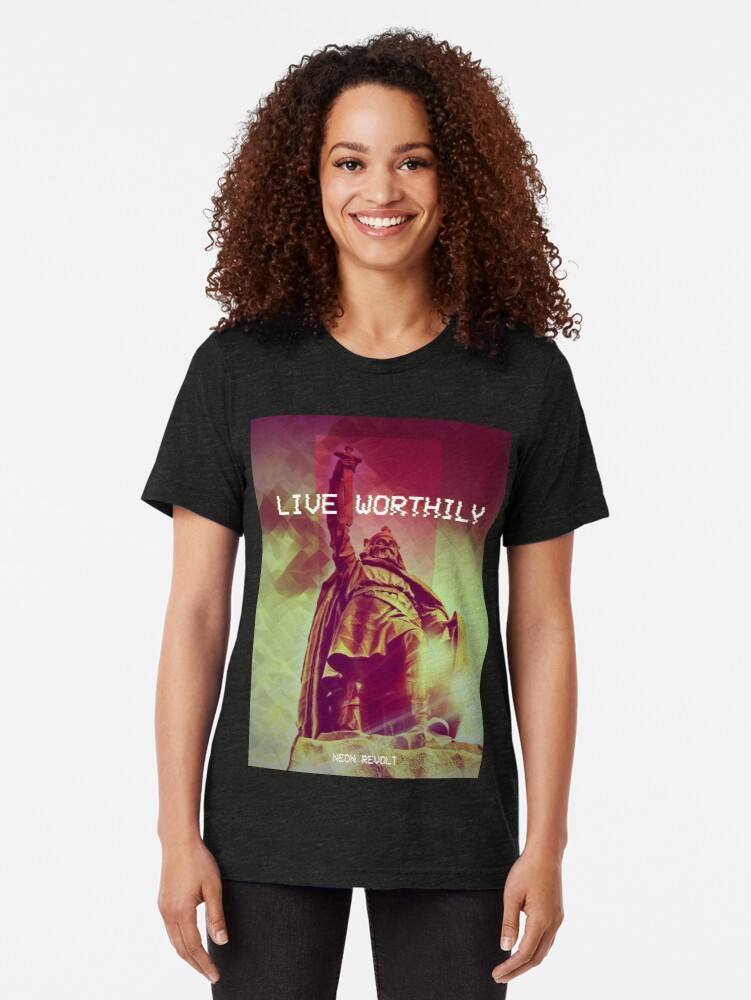 Alternate view of Live Worthily - Alfred the Great Tri-blend T-Shirt
