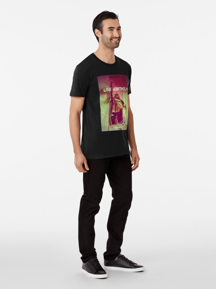 Alternate view of Live Worthily - Alfred the Great Premium T-Shirt