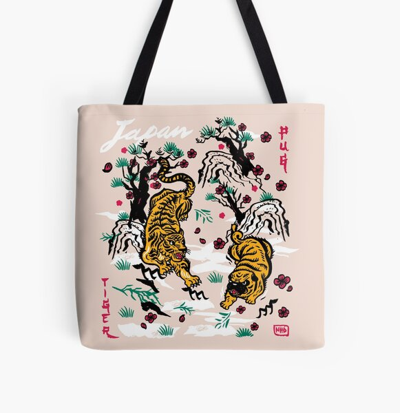 Tiger and Pug Japanese style All Over Print Tote Bag