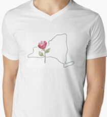 new york rose state flower Men's V-Neck T-Shirt