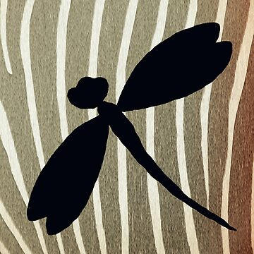 Vintage Zebra Stripe Dragonfly Silhouette  by Artbytinavaughn