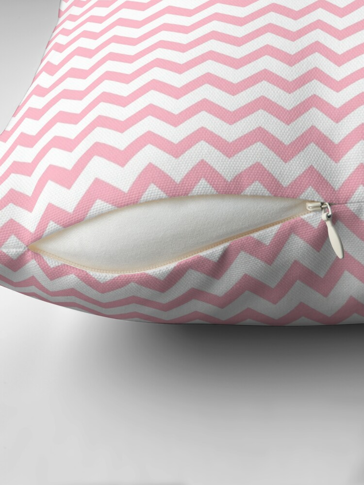 Alternate view of Pink and White Chevron Stripes Throw Pillow