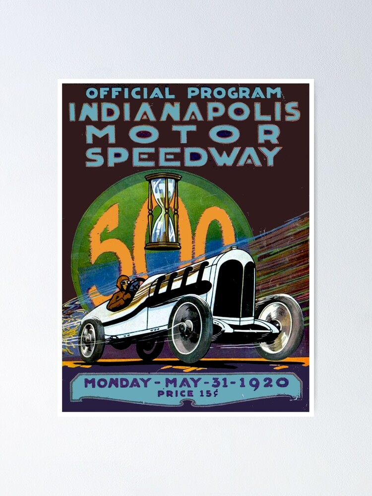 971 Car Race Shield Poster SPEEDWAY USA Indy 500 Race 1920 Historic Car