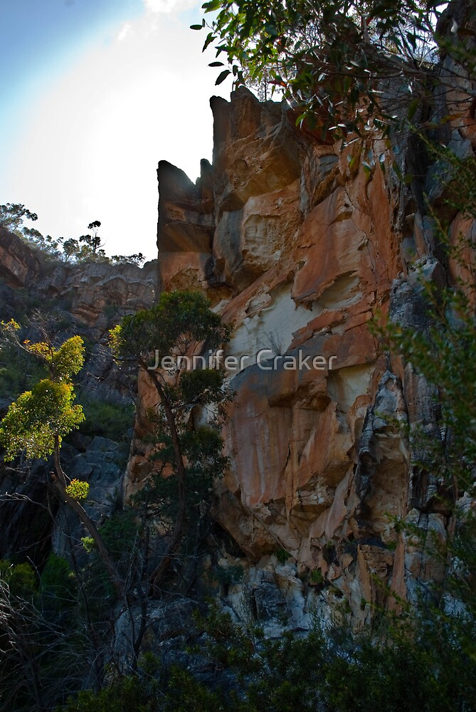 Sandstone cliff-face at Beehive Falls by Jennifer Craker