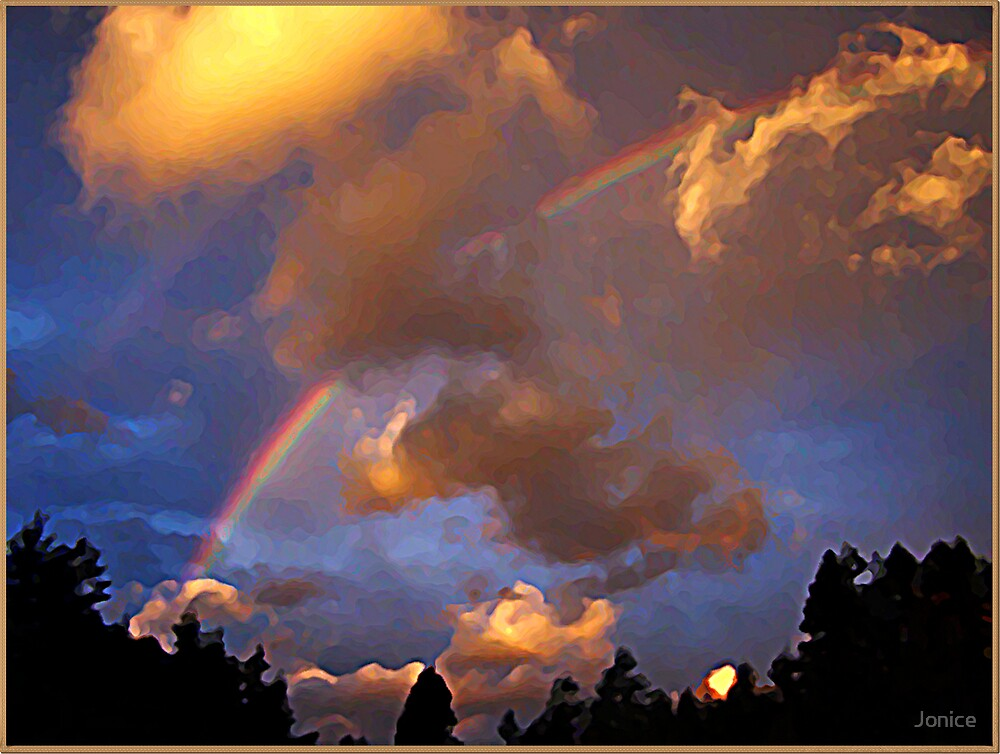Painted Rainbow and Sky by Jonice