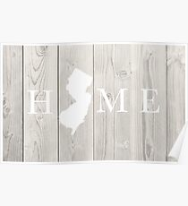 New Jersey State Home Design on Vintage Wood Poster