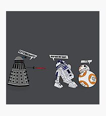 Robot vs Droid Battle Photographic Print