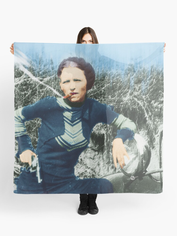 Painting Of Bonnie Parker Of Bonnie And Clyde Mugshot Cigar Gun | Scarf