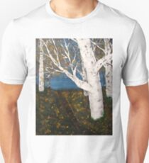 Silver Birch Trees Autumn Nature Painting T-Shirt
