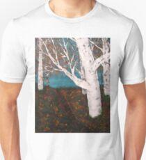 Silver Birch Trees Autumn Nature Painting Enhanced T-Shirt
