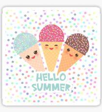 Hello Summer Kawaii Ice cream waffle cone  Sticker