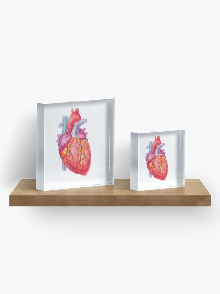 Alternate view of polygonal human heart illustration Acrylic Block