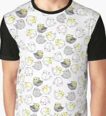 Kawaii Cute Cockatiel Bird Pattern Graphic T-Shirt
