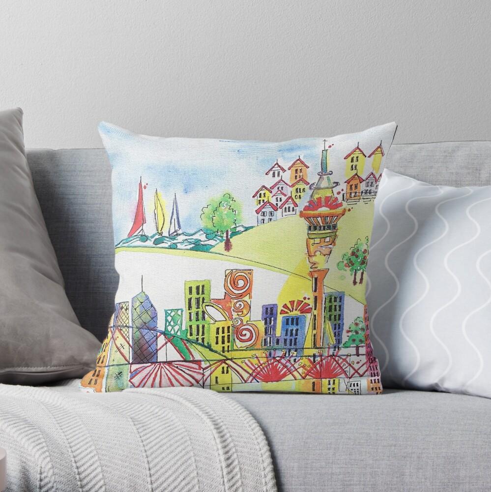 Auckland cityscape Throw Pillow