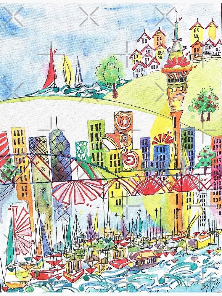 Auckland cityscape by milesdesignart