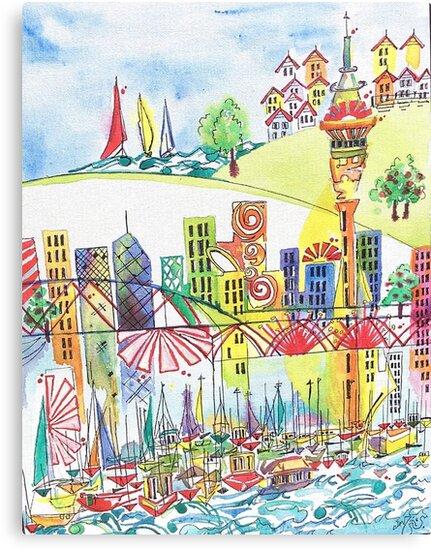 Auckland cityscape by Miles Design Art