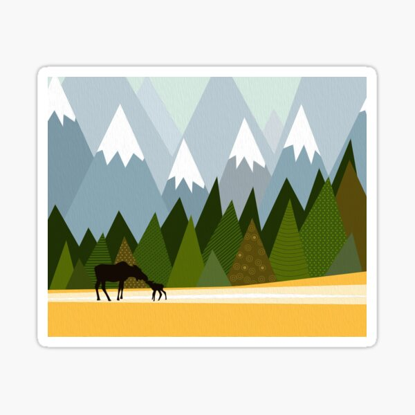 Woodland snowy mountain tops trees and mother moose and baby Sticker