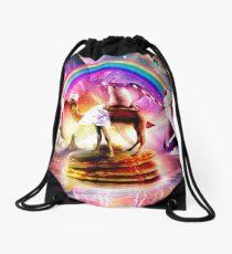 Hamster Riding Camel With Pancakes And Milkshake Drawstring Bag