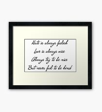 12th Doctor Regeneration Quote Framed Print