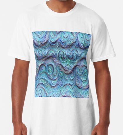 Frozen sea liquid lines and waves #DeepDream Long T-Shirt