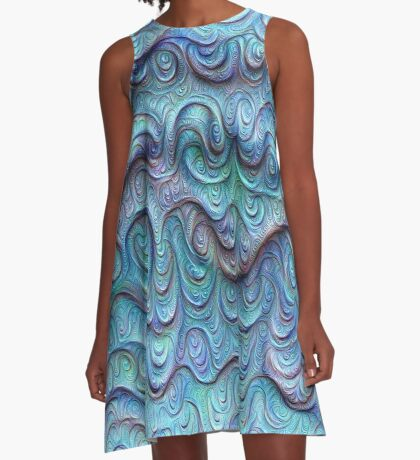 Frozen sea liquid lines and waves #DeepDream A-Line Dress