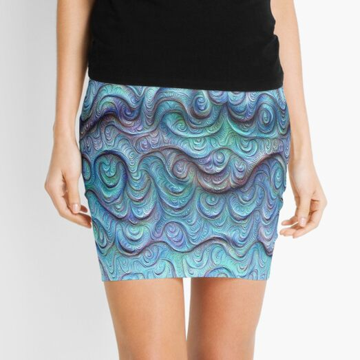 Frozen sea liquid lines and waves #DeepDream Mini Skirt