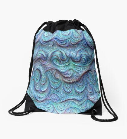 Frozen sea liquid lines and waves #DeepDream Drawstring Bag