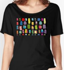 Texture with colorful cats with curved tails. Can be used for textile, website background, book cover, packaging. Women's Relaxed Fit T-Shirt