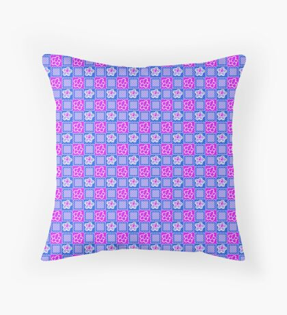 Pink Flowers in Blue Squares Retro Pattern Throw Pillow