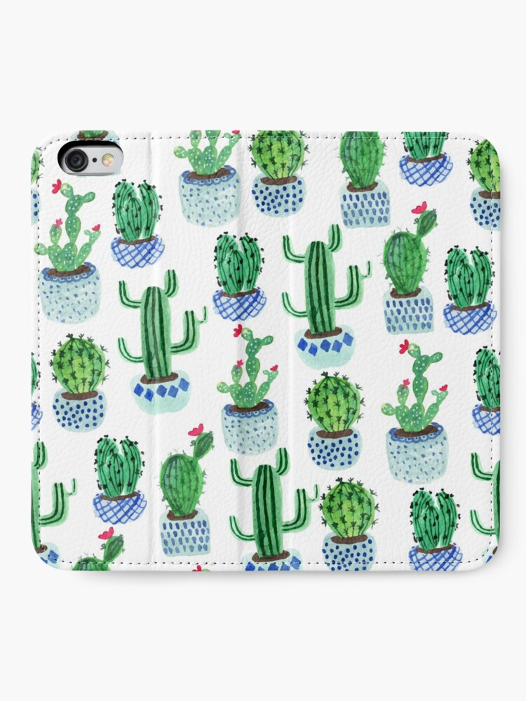 Vista alternativa de Fundas tarjetero para iPhone Cactus en acuarela