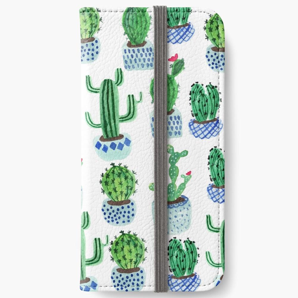 Cactus en acuarela Fundas tarjetero para iPhone
