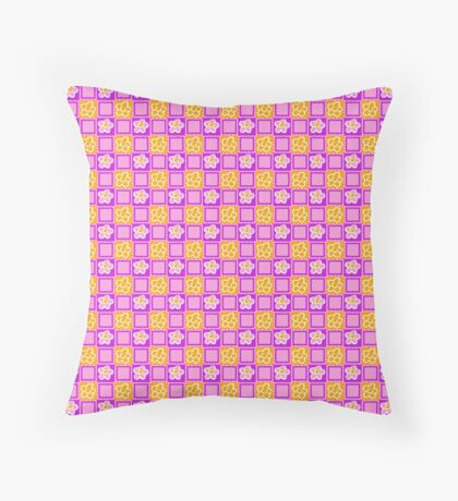 Yellow Flowers on Pink Squares Retro Pattern Throw Pillow