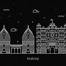 Indore Skyline Minimal Line Art Poster by A Deniz Akerman