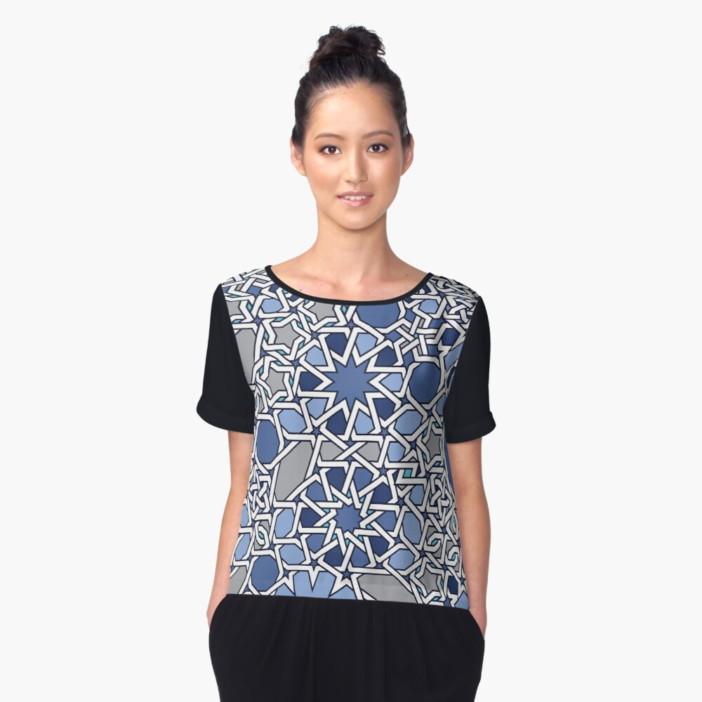 G Vision in Blue Women's Chiffon Top Front