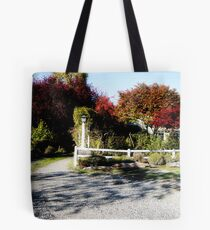 White Fence, Road Tote Bag