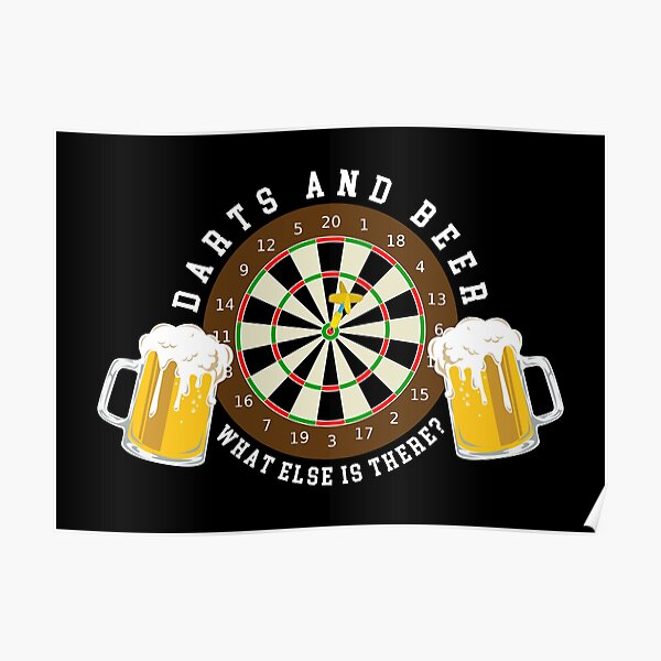 Darts and Beer - Dartboard Tournament Sport Fun Poster