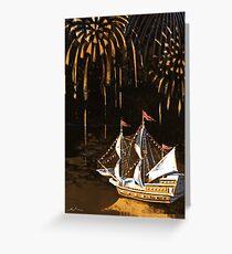 Three masts ship under fireworks Greeting Card