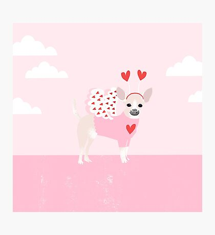 Chihuahua white love hearts valentines day cute gifts for chiwawa lovers pet must haves Photographic Print