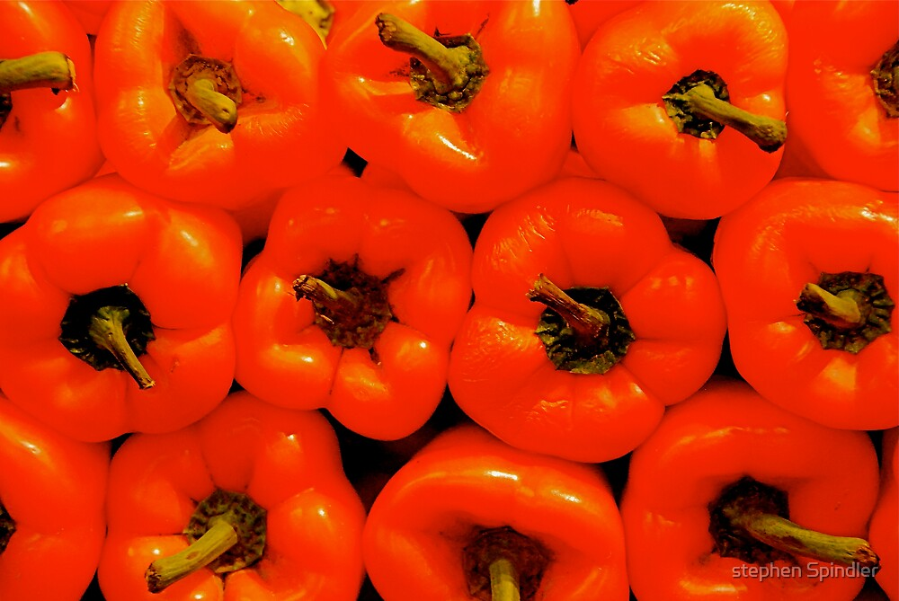A Wall of Peppers by stephen Spindler
