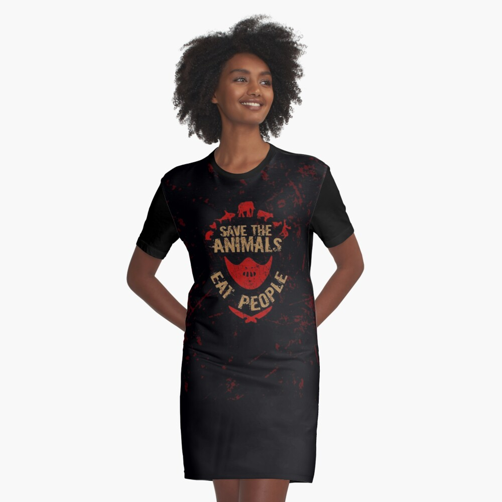 save the animals, EAT PEOPLE Graphic T-Shirt Dress
