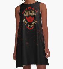 rette die Tiere, ESSEN SIE MENSCHEN A-Linien Kleid