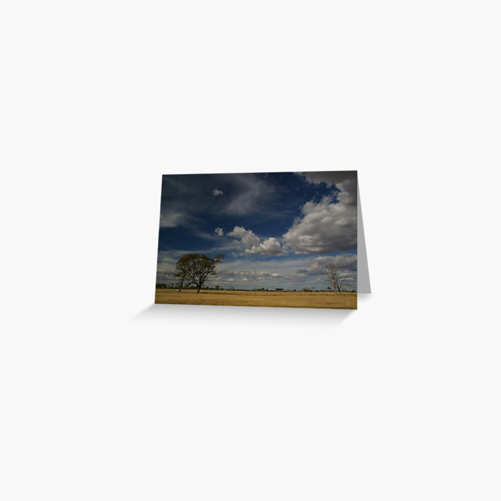 Blue skies and brown grass Greeting Card
