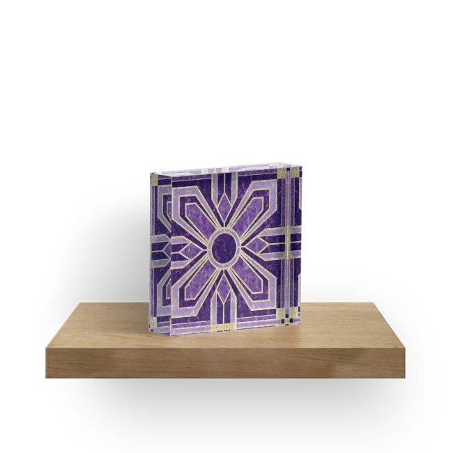 Art Deco Floral Tiles in Violet Purple by MelFischer